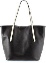 Neiman Marcus Malin Colorblock Leather Tote Bag, Black/Powder Blue/Bone