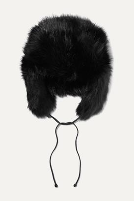 Eugenia Kim Owen Leather-trimmed Faux Fur Hat - Black