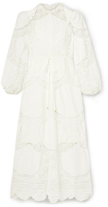 Zimmermann Bonita Crochet-paneled Embroidered Linen And Cotton-blend Midi Dress