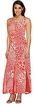 George Simonton As Is Printed Maxi Dress w/ Solid Mesh Godets