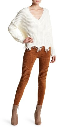OOBERSWANK Faux Suede Motorcycle Leggings
