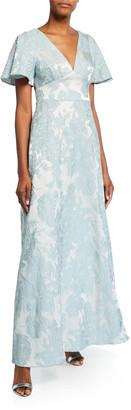 Aidan Mattox Floral Jacquard V-Neck Flutter-Sleeve Gown