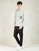 Factotum Grey L/S Check Pocket T-Shirt
