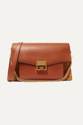 Givenchy Gv3 Medium Textured-leather And Suede Shoulder Bag - Tan