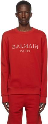 Balmain Red 3D Logo Sweatshirt