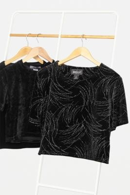 Urban Renewal Vintage Remade From Vintage Black Velvet Crop Top - Black XS/S at Urban Outfitters