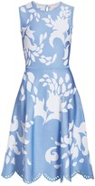 Carolina Herrera Floral Cutout Midi Dress
