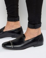 Asos Loafers In Black Leather With Stud Toecap