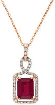 Effy Ruby (1-1/2 ct. t.w.) and Diamond (1/5 ct. t.w.) Pendant Necklace in 14k Gold