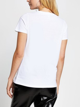 River Island Embellished Heart T-shirt - White