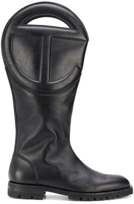 Telfar Logo-Embossed Leather Boots