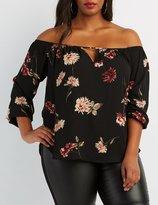 Charlotte Russe Plus Size Floral Off-The-Shoulder Top