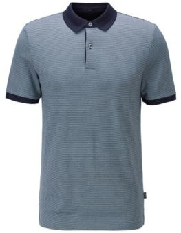 HUGO BOSS Slim Fit Polo Shirt In Patterned Cotton - Green