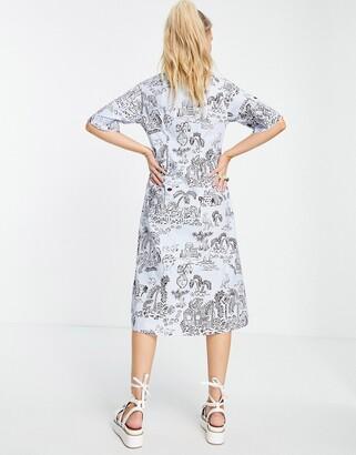 Monki Aloe organic cotton midi shirt dress in blue scenic print
