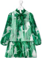 Dolce & Gabbana leaf print chiffon dress