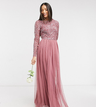 Maya Tall delicate sequin long sleeve maxi dress with tulle skirt in rose