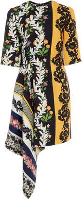 Oscar de la Renta Asymmetric Floral-Print Wool-Crepe Mini Dress