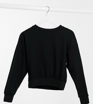 ASOS DESIGN Petite super soft cropped batwing sweatshirt in black