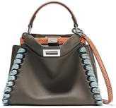Fendi Peekaboo Mini Elaphe-trimmed Leather Shoulder Bag - Charcoal