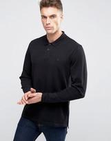 Asos Pique Long Sleeve Polo With Triangle Logo In Black