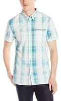 Calvin Klein Jeans Men's Bleach Plaid Short Sleeve Woven Shirt