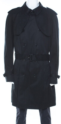 Dolce & Gabbana Black Cotton Double Breasted Belted Coat XXL