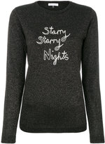 Bella Freud sparkle pullover with embroidered slogan