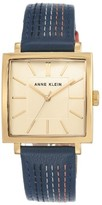 Anne Klein Women's Square Leather Strap Watch, 42Mm X 34Mm
