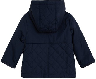 MANGO Baby Boys Quilted Hooded Coat - Navy