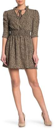 TRINITY MOON 3/4 Sleeve Cinch Sleeve Tie Front Dress