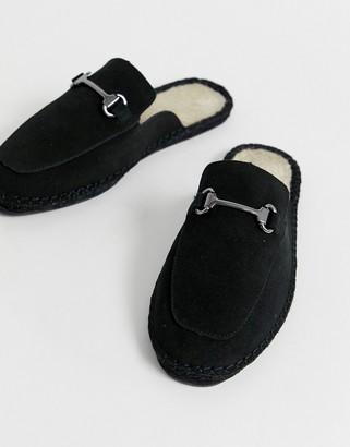 Asos Design DESIGN backless mule espadrilles in black with snaffle