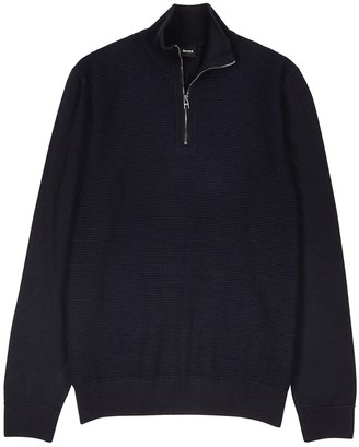 HUGO BOSS Navy Half-zip Wool-blend Jumper