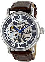 Akribos XXIV Men's AK540BR Automatic Self-Wind Movement Watch with Gray and See Thru Skeleton Center Dial With Brown Genuine Leather Strap