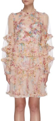Needle & Thread 'Floral Diamond' ruffle long sleeve mini dress