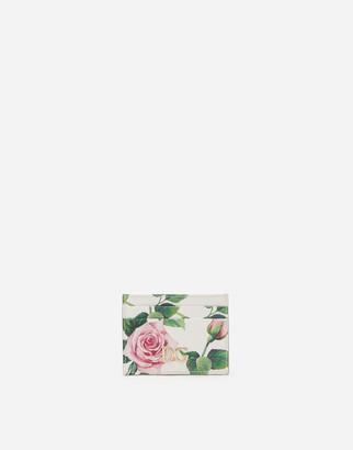Dolce & Gabbana Dauphine Calfskin Credit Card Holder With Tropical Rose Print