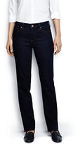 Lands' End Women's Mid Rise Straight Leg Jeans-Dark Indigo Wash