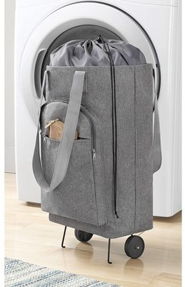 "Whitmor Whitmor, Inc Rolling Laundry Bag Hamper Cart with Wheels - Gray - 8"" x 12"" x 25.5"""