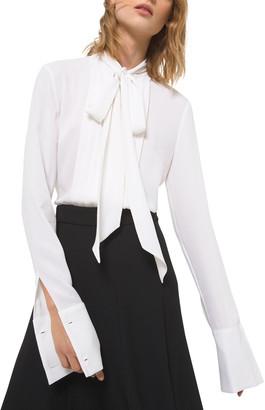 Michael Kors Collection Tuxedo Tie-Neck Silk Blouse