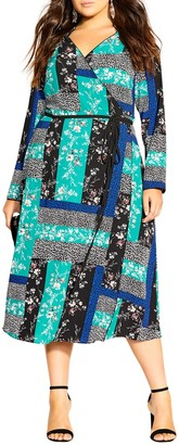 City Chic Bright Patch Long Sleeve Dress (Plus Size)