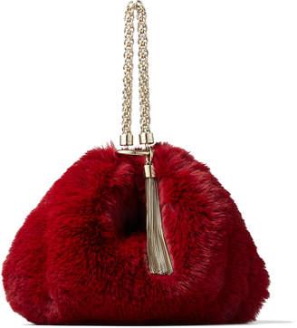 Jimmy Choo CALLIE Bordeaux Faux Fur Clutch Bag