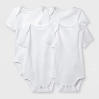 Cloud Island Baby Boys' Basic 4pk Shorts sleeve Bodysuit - Cloud Island White