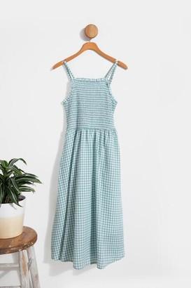 francesca's Andy Smocked Gingham Dress - Sage