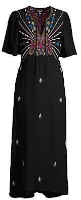 Johnny Was Women's Janelle Flutter-Sleeve Silk Midi Dress