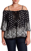 Angie Crochet Printed Cold Shoulder Blouse (Plus Size)