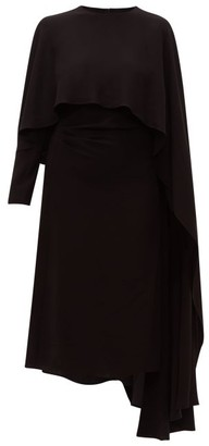 Valentino Asymmetric Cape-shoulder Crepe Dress - Black