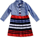 Sweet Heart Rose 2-Pc. Striped Dress & Denim Jacket Set, Little Girls (4-6X)