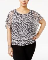 JM Collection Plus Size Printed Banded-Bottom Top, Only at Macy's
