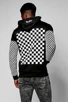 Boohoo Mens Rebel Checkboard Sleeve & Back Print Hoodie