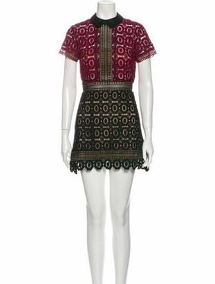 Self-Portrait Lace Pattern Mini Dress