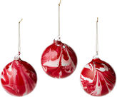 One Kings Lane S/3 4 Marbelized Ornaments, Red